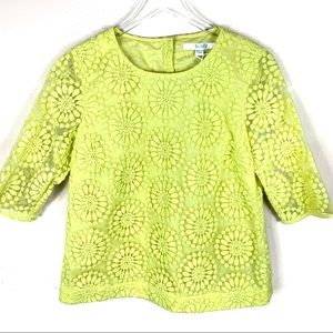 New Boden Floral Embroidered Overlay Top Yellow